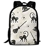 Happy Halloween Witch Hat Broom Cat Casual Zaino Ultra Light Adjustable Strap Unisex For Outdoor Travel