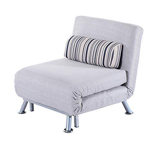 Homcom poltrona letto in ferro e cotone con cuscino a righe 75 x 70 x 75cm grigio