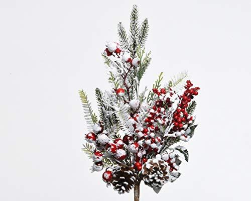 Kaemingk - ramo innevato con bacche rosse e pigne 50 cm - kaemingk-682856