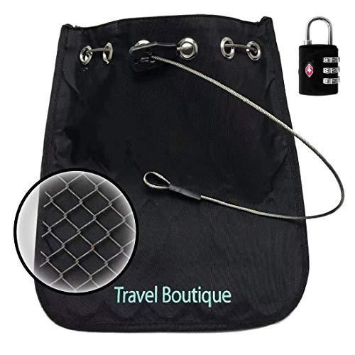 Anti-Diebstahl-Sicherheits-Tasche aus wasserabweisenden Nylon mit schnittfestem Drahtnetz; Optimal zum Schutz von Tablet, Handy, Kamera & Wertsachen als Reisesafe und Strandsafe (mit 3-Zahlen-Schloss)