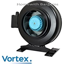 "VORTEX Pro Metal In-line Extractor Fan Air Odour Control 4"" 5"" 6"" 8"" 10"" 12"" Hydroponics (4"" Vortex Fan)"