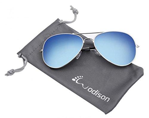 WODISON Vintage-Flieger-Sonnenbrille Reflektierende Spiegel-Objektiv (Silver Frame Blue Lens)