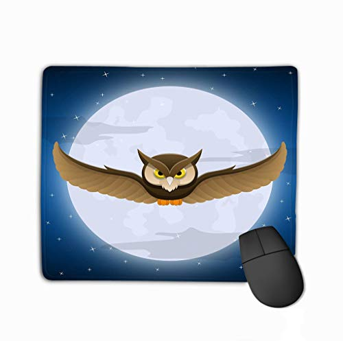 gle Non-Slip Rubber Mousepad 11.81 X 9.84 Inch owl Flying Full Moon Star Space Halloween Holiday Text Halloween Night Postcard Color ()
