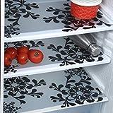 Home Creastions Premium Quality Fridge Drawer Mats/Fridge Mats Pack Of 3 Pcs (Black & White)