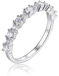 JewelryPalace Anillo de la venda del Zirconia cúbico de la plata esterlina 925 de las mujeres