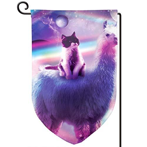 Lilyo-ltd Flagge, Motiv Kitty Cat Reiten auf Regenbogen-Llama im Weltraum, 31,75 x 45,7 cm, doppelseitig, Polyester