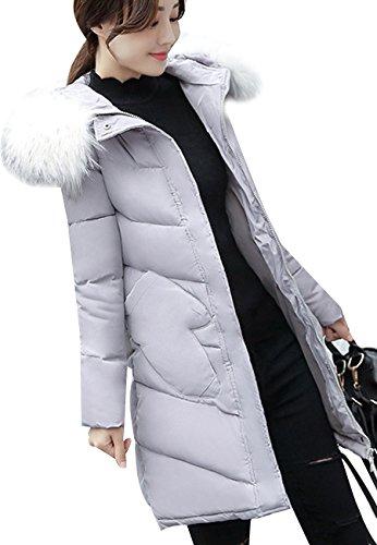 OMZIN Womens Kurzer Daunenfell-Kragen Daunenjacke mit Kunstfell-Kapuze Grau S (Bubble Quilted Jacket)