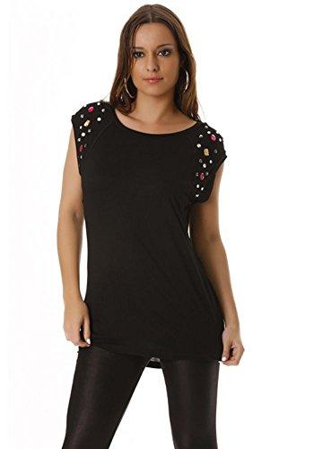 dmarkevous - t-shirt avec pierre aux épaules. Noir