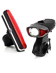 Unigear Wiederaufladbare LED Fahrradlampen Set als Fahradlicht Helmlicht für Radsport, Superhelle Fahrradbeleuchtung inkl. Frontlicht und Rücklicht, 3 Licht-Modi, 2 USB Kabel und 1 Lampenhalterung