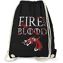Fashionalarm Turnbeutel - House Targarien Fire And Blood | Fun Rucksack als Geschenk Idee zur GoT Serie | Haus Motto Feuer und Blut Drache