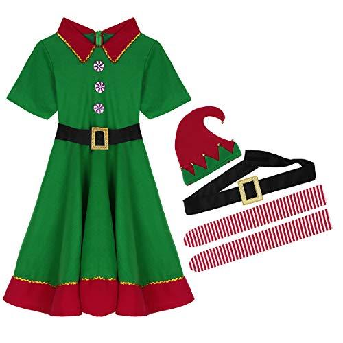 Alvivi Traje de Navidad Adulto Mujer Dsifraces De Elfa Duende Cosplay Christmas Conjunto Ropa Vestido de Princesa Verde Traje de árbol Disfraz de Santa Claus Chicas Mujer Rojo&Verde 180(L)