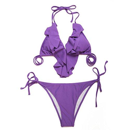 RELLECIGA Damen Bademode Triangel Bikini mit Rüsche am Top Violett