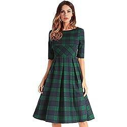 antaina Tela Escocesa A Cuadros Verde Mitad de la Década de 1950 Una Línea de Baile Plisado Vestido de Noche de Oscilación de Las Mujeres,L