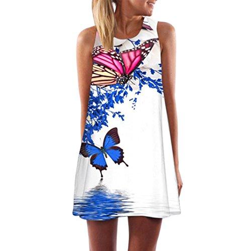 Women's Dresses, Fashion Loose Summer Vintage Sleeveless 3D Floral Print Short Mini Dress A Line Evening Dress Swing Casual T-Shirt Dress Big Size Party Dress Cocktail Dress
