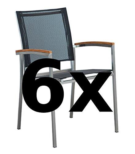ASS 6Stk Designer Gartenstuhl mit Armlehne Gartensessel Stapelstuhl Stapelsessel Sessel Kuba-SCHWARZ Edelstahl Batyline Textilene Teak stapelbar sehr robust von