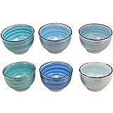 esto24 Design 6er Set Müslischalen Dessertschale 750ml Keramik in tollen Farben - Das Highlight auf jedem Tisch (Schale Blau Töne)