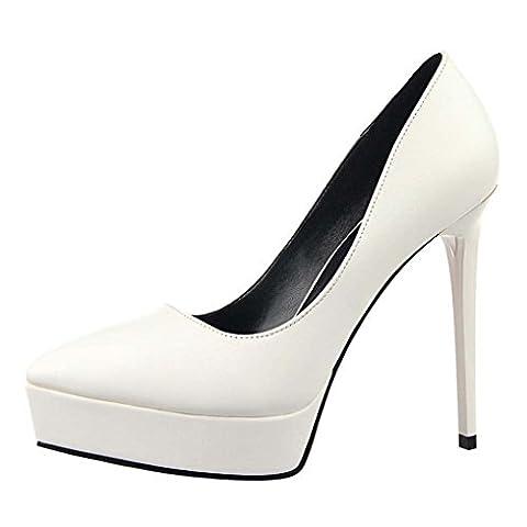 Oaleen Escarpins Plateforme Femme Sexy Talons Haut Aiguille Chaussures Soirée Mariage Blanche 37