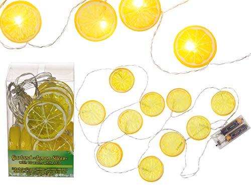 etten für den Innenbereich Batterie Früchte Cocktail Sommer Party Balkon Beleuchtung Veranstaltung Deko Wohnung (Lichterketten Zitronenscheiben) ()