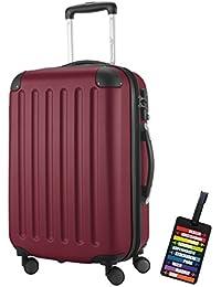 Hauptstadtkoffer® Bagaglio a mano (49 litri) con un lucchetto TSA Seria SPREE (Colore Borgogna con 1 ciondolo per la valigia)