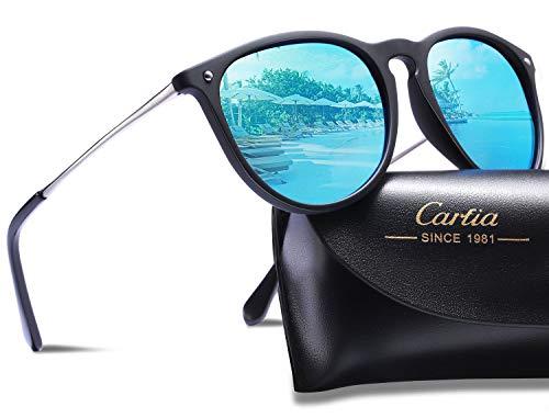 Carfia Vintage Polarisierte Damen Sonnenbrille Herren Sonnenbrille Fahrer Brille 100% UV400 Schutz für Autofahren Reisen Golf Party und Freizeit - Ultraleicht Rahmen (Blau Polarisierten Sonnenbrillen)