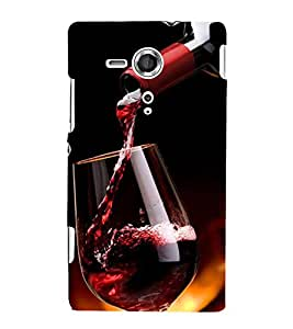 Fuson Designer Back Case Cover for Sony Xperia SP :: Sony Xperia SP HSPA C5302 :: Sony Xperia SP LTE C5303 :: Sony Xperia SP LTE C5306 (Wine red Wine Glass Wine Bottle red)