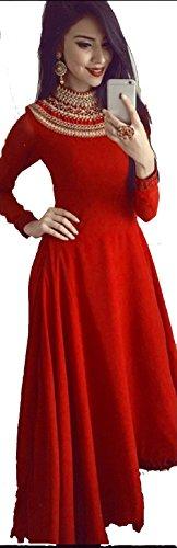 B4U Fashion Women\'s Tafeta Silk Semi Stitched Gown (Red, Free Size)