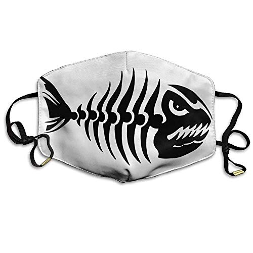 Fashion Outdoor Mouth Mask with Design, Reusable Half Face Mask Anti-dust Mask, Adult Fish Bone Skeleton Skull Mouth Face Masks Women Amazing Motorcycle Anti Dust Face Mouth Mask-Reusable (Skull And Bones Morphsuit)