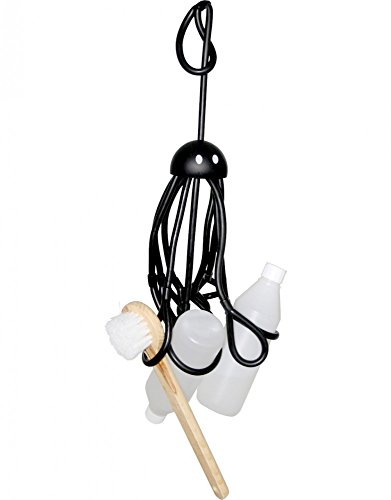 "Formverket Shampoohalter Duschgelhalter ""Octopus"" ca. 33 cm lang zum Hängen verstellbare Schlaufen Latex, schwarz"