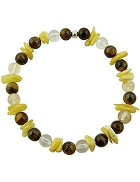 Sunsara Traumsteinshop Edelstein Sternzeichen Armband - Löwe - mit 925er Silber Perle, Heilsteinarmband, Stretcharmband...