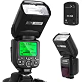 Flash Speedlite per Canon,ESDDI E-TTL Kit Flash professionale con trigger flash wireless, 1/8000 HSS Wireless Flash Speedlite GN58 2.4G Master slave wireless