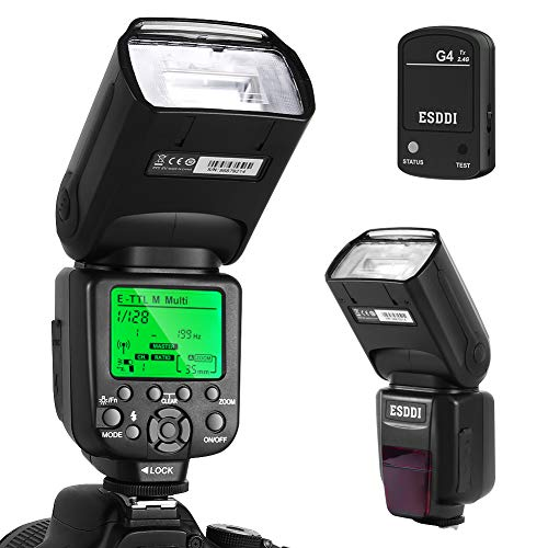 ESDDI Canon Blitzgerät, 1/8000 HSS Wireless Flash Speedlite GN58 2.4G Funk Master Slave für Canon, Professional Blitz Kit mit Wireless Flash Trigger 2.4 G Kit