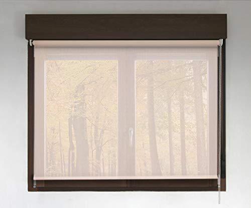Estor Enrollable Screen Premium (Desde 40 hasta 300cm de Ancho - Permite Paso de luz y Ver el Exterior sin Que lo vean). Color Lino. Medida 50cm x 120cm para Ventanas y Puertas