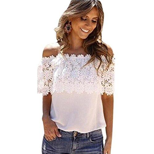 VJGOAL Sexy Women Summer Off Shoulder Casual Tops Blouse Lace Crochet Chiffon Shirt T Shirts
