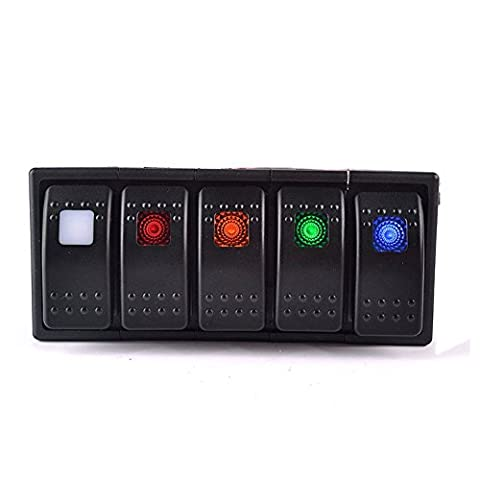 T Tocas (TM) 5 waterproofs Interrupteurs à bascule panneau blanc avec 5 interrupteur à bascule Fusible de surchage, pour 12v / 24v Bateau Bus RV, Indicateur LED, 5