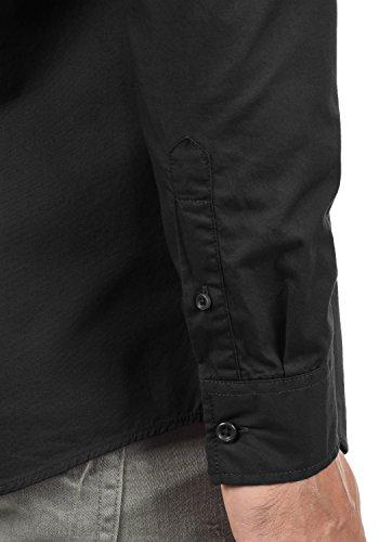 PRODUKT Pellegrino Herren Hemd Business Langarm-Hemd mit Button-Down-Kragen Aus 100% Baumwolle Black