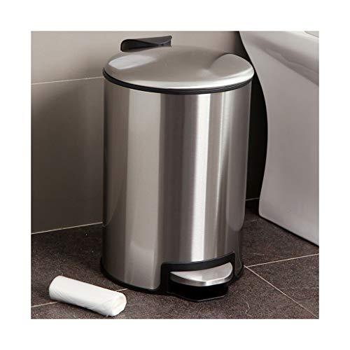 Mülleimer Abfalleimer Verzögerung Mute 12L Edelstahl Altpapier Eimer Haushalt Pedal Küche Reinigung Eimer Trash can