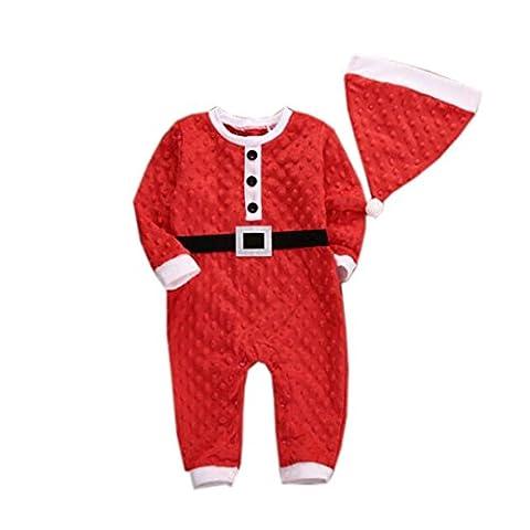 Babykleidung,Sannysis Baby Kinder Junge Mädchen Romper Jumpsuit Weihnachten Kleidung Spielanzug + Cap Outfit 6-18Monat (80, Rot)
