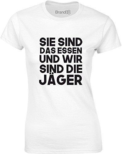 Brand88 - We Are The Hunters, Gedruckt Frauen T-Shirt Weiß/Schwarz