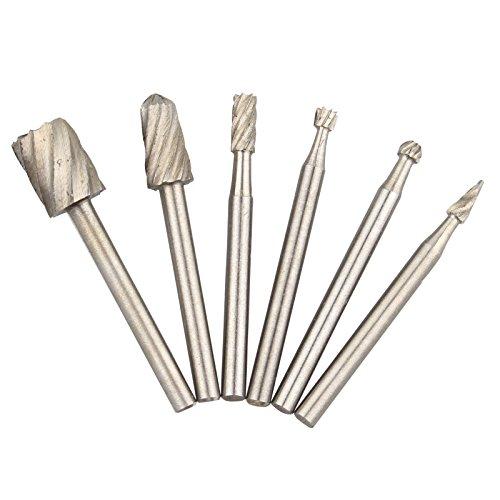6PCS Holz Fräser HSS High Speed Stahl Routing Router Frässtifte 3,17mm Schaft–Gewinden–Entgraten Set für Rotary Dremel Werkzeug (Stahl-fräser)