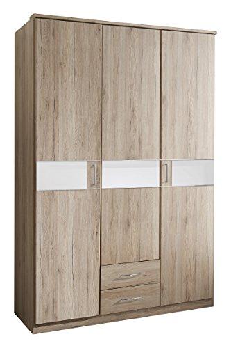 Wimex T05472 3 türiger Kleiderschrank, Holz, san remo eiche nachbildung /  absetzungen glas weiß, 135 x 58 x 197 cm