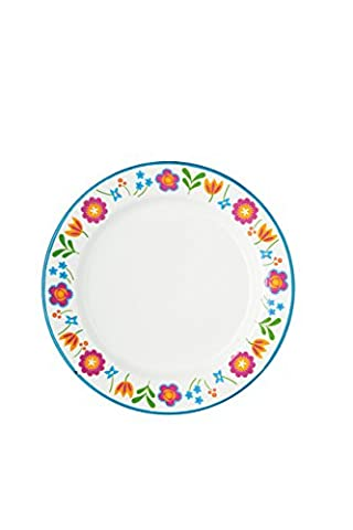Kitchen Craft Coolmovers Romany Summer Floral Enamel Plate, 24.4 cm