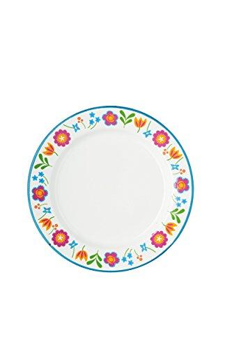 Kitchen Craft Coolmovers Romany d'été Assiette en émail Motif Floral, 24,4 cm (24,1 cm) – Blanc