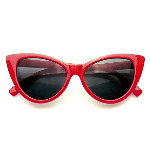 Mujeres Moda Punta Caliente Vintage Señaló Las Gafas de Sol Ojos de Gato (Rojo, 0)