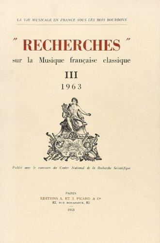 Recherches sur la Musique Française Classique, volume 3 - 1963