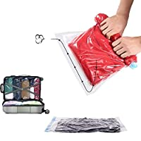 Yababllj 6 Pcs Vacuum Storage Bags Reusable Travel Space Saver Bags Hand Rolled Compression Bags - 3 Sizes
