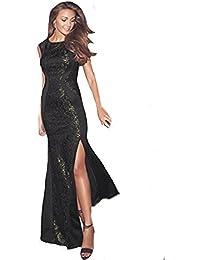 4929887b Michelle Keegan Lipsy VIP Style Sequin Gold Black Lace Panel Maxi Dress RRP  £75