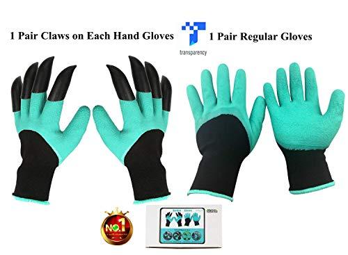 NNBB Garten Genie Handschuhe mit Krallen Wasserdicht Garten-Handschuhe für Graben & Pflanzen Eine Größe Passend für Alle As Seen on TV Genie Tv