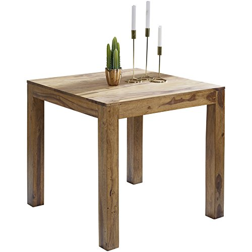 Wohnling Esstisch MUMBAI Massivholz Sheesham 80 x 80 x 76 cm Esszimmer-Tisch Design Küchentisch modern Landhaus-Stil Holztisch quadratisch dunkel-braun Natur-Produkt Massivholzmöbel