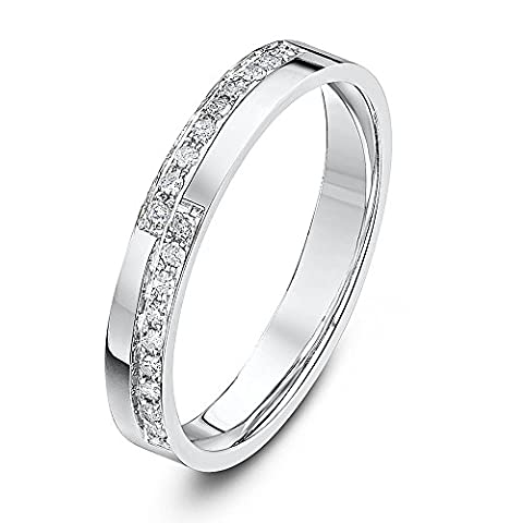 Theia 18ct White Gold Flat Court Shaped 0.18ct Round Diamond Prong Set 3mm Stepped Eternity Ring - Size