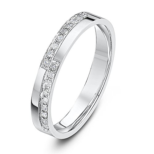 Theia Anillo Eternity Escalonado en Oro Blanco de 18k de 3 mm con montura de punta de Diamante Redondo de 0,18 ct, Forma de Corte Plano - Tamaño 23.5